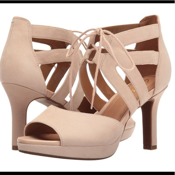 b0a2c7a9a32 Clarks Shoes - Clarks peep toe heels with lace tie front